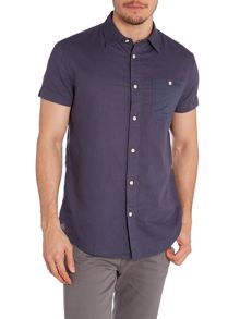 Short Sleeve Classic Fit Linen Shirt With Pocket