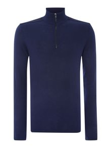 Suede Yoke 1/2 Zip Knitted Top