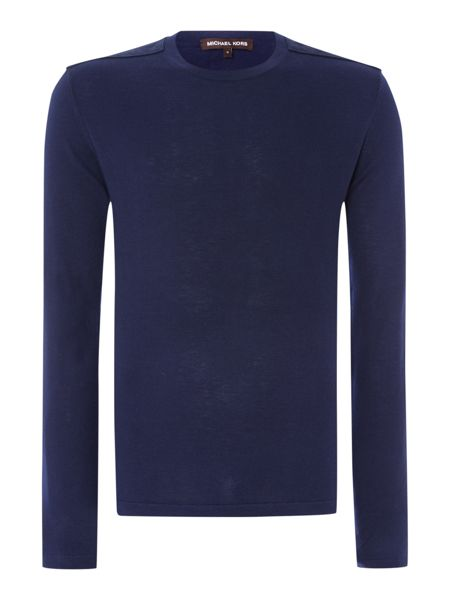 Michael Kors Suede Patch Yoke Knitted Crew