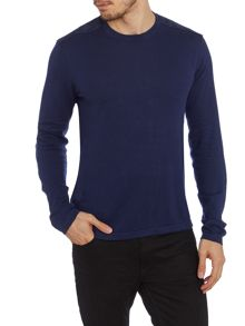 Suede Patch Yoke Knitted Crew