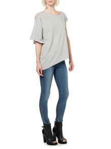 Cut out shoulder o/s asymmetric tee