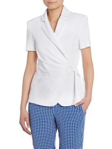 Armani Collezioni Cotton short sleeved, tie-waist jacket