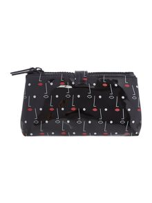 Two face black double cosmetic bag