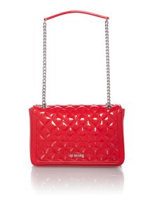 Red patent medium flapover shoulder bag