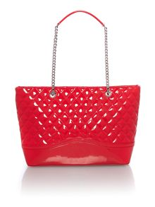 Red large patent tote bag