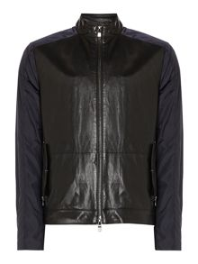 Nylon Jacket With Leather Front