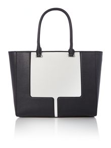 Black large tote with detachable clutch