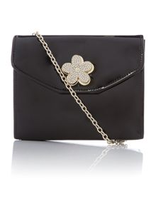 Black small patent flower cross body chain bag