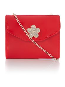 Red small patent flower cross body chain bag