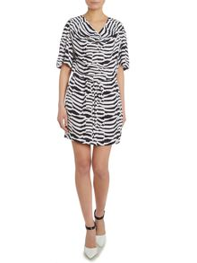 Armani Jeans Short sleeved cowl neck zebra print dress