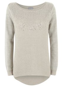 Grey Linear Sequin Knit