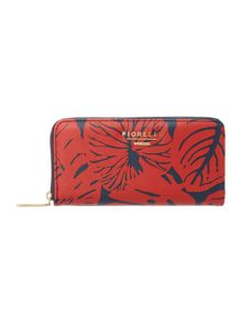 Evelyn multi coloured leaf print zip around purse
