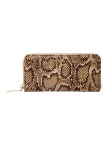 Evelyn neutral snake large zip around purse