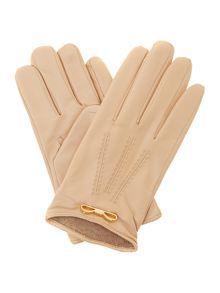 Metal bow leather touch screen gloves