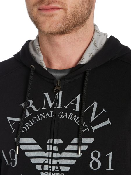 Armani Jeans Large Logo Zip Through Hoody