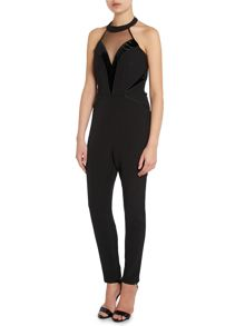 Kardashian Kollection Velvet halterneck jumpsuit