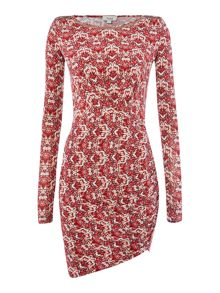Hoss Intropia 3/4 sleeve dress with neck detail
