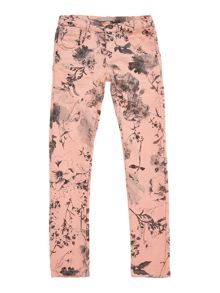Girl`S Floral Print Denim Trouser