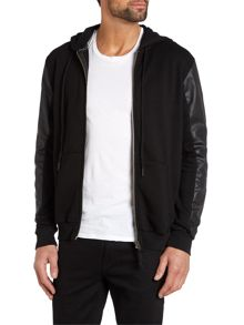 Zip up hoody with leather sleeves