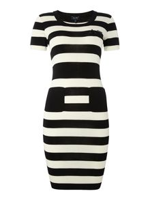 Striped short sleeved dress with pockets