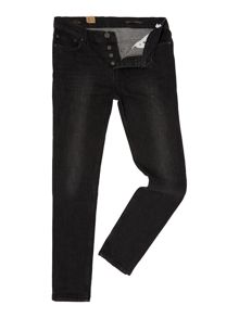 Label Lab Taper Leg Washed Black Denim Jean