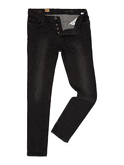 Taper Leg Washed Black Denim Jean