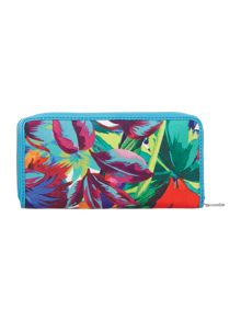 Multi coloured jungle ziparound purse