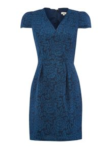 Hoss Intropia V neck jacquard dress