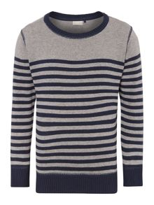 Boys crew neck stripe knit