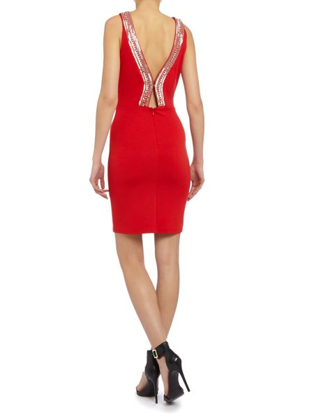 tfnc Embellished racer bodycon dress
