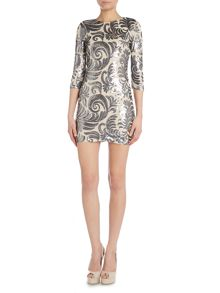 Sequin feather embelishment bodycon dress