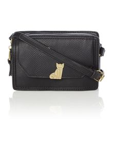 Venice black cat flapover crossbody bag