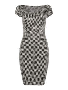 Off the shoulder print bodycon dress
