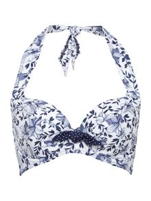 Dickins & Jones Pin spot & Floral large cup halter bikini top