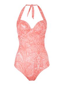 Feather Paisley large cup halter swimsuit