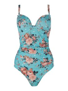 Dickins & Jones Floral spot large cup tummy control swimsuit
