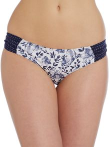 Pin Spot & Floral ruched side bikini brief