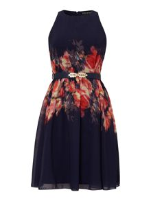Floral print belted fit and flare dress