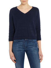 Long sleeved chunky ribbed knitted jumper