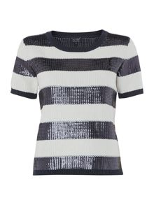 Short sleeved sequinned striped knitted top