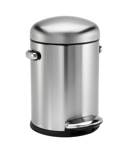 Simplehuman Retro 4.5L Pedal Bin in Brushed Steel