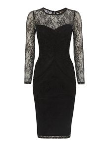 Kardashian Kollection lace sleeve bodycon dress