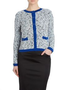 Chunky boucle knitted cardigan with contrast trim