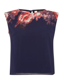 Little Mistress Sleeveless floral print chiffon top