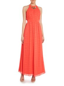 Little Mistress Halter embellished neck maxi dress