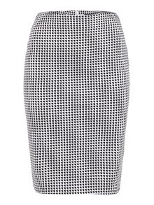 Optical print fitted pencil skirt