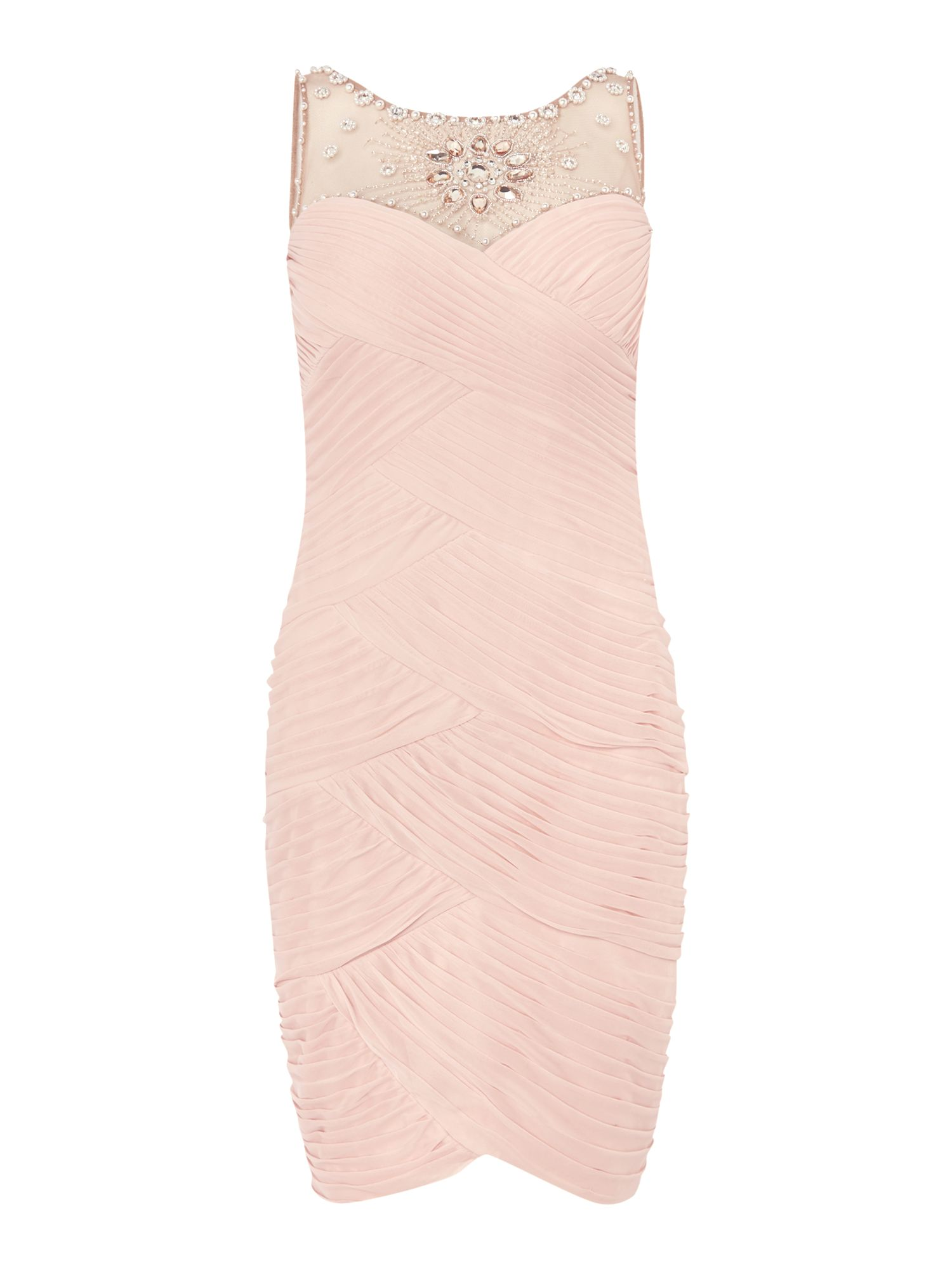 Adrianna Papell Jewel Neck Ruched Waist Dress Pink