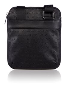 Embossed all over small cross body bag