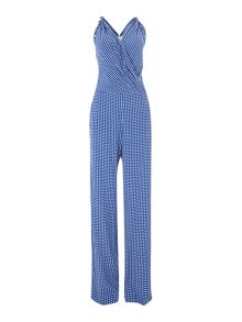 Sleeveless crossover front printed jumpsuit