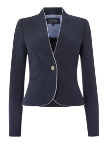 Contrast pipping blazer with clip